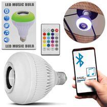 Lâmpada LED Musical Caixa de Som Bluetooth 12W Android iOS Wireless Luminária Bivolt Controle RGB - Prime