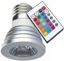 Lampada LED RGB Colorida 16 Cores Com Controle Remoto 3W - Mkb