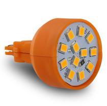 Lâmpada LED T20 2 Polos 12 LEDs 12V Luz Âmbar Ré Freio Seta Lanterna Dianteira Traseira Autopoli -