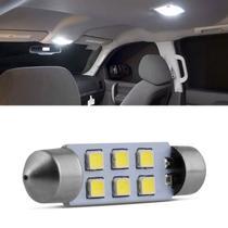 Lâmpada LED Torpedo 42mm 6 LEDs 10W 12V Luz Branca Teto e Placa Autopoli -