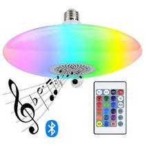 Lâmpada Musical Bulbo Ufo 48w LED RGB 16 Cores + Luz Branca Bluetooth Música Caixa De Som + Controle Remoto - Outros