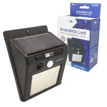 Lâmpada Solar Luminária com Sensor de Parede 30 Leds Arandela horas Energia A Noite - LUATEK