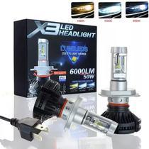Lâmpada Super Ultra Led H4 Turbo 12000k Prova D'agua - X3