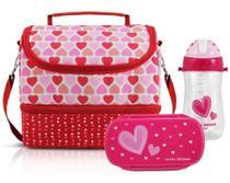 Lancheira Infantil c/pote e squeeze Menina Coração Vermelho - Jacki design