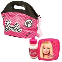 Lancheira Térmica Infantil Especial Barbie 18z Alça Com Potinho E Garrafinha - Sestini