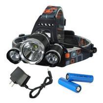 Lanterna 3 Leds forte de Cabeça para Ciclismo Pesca Camping, Recarregável - Luatek