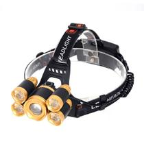 Lanterna Cabeça T6 5x Led Cree Profissional Swat Tática -