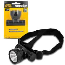 Lanterna de Cabeça LED 2 Estágios de Luz 100LM Adaptável em Capacetes Vonder LRV 100 Recarregável -