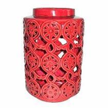 Lanterna Decorativa de Cerâmica Vermelha - Decorafast