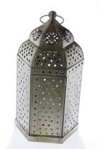 Lanterna Decorativa Marroquina de Metal e Vidro 39cmx21,5cmx18cm Vênus Victrix - Venus