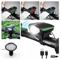 Lanterna Farol Led Bike Buzina Prova D'água Recarregavel - B2t