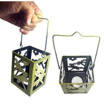 Lanterna Marroquina Porta Vela Enfeite Jardim Ferro Lampiao 10 cm Libelula Amarela  Kit Com 2 (jard-75) - Braslu