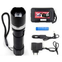 Lanterna tatica led cree police q5 28000w militar com carregador de casa e carro com estojo - Gimp