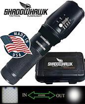 Lanterna Tática Militar Shadowhawk Original Na Caixa Recarregável C/ Zoom Completa -