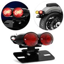 Lanterna Traseira Moto Custom LED Dupla Com Pisca Integrado E Suporte De Placa Eliminador Rabeta -