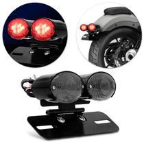 Lanterna Traseira Moto Custom LED Dupla Fumê Pisca Integrado Luz de Placa Suporte Eliminador Rabeta -
