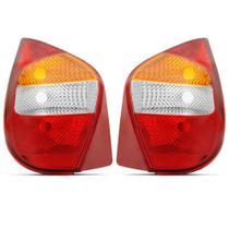 Lanterna Traseira Palio Fire G2 2001 2002 2003 2004 2005 2006 Tricolor Borda Vermelha - Cofran Lanternas