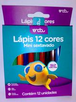 Lapis 12 cores mini sextavado onda -