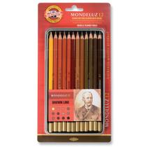 Lápis Aquarelável Mondeluz 12 cores Tons de Marrom - Koh-I-Noor