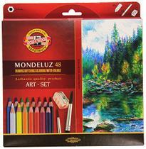 Lápis Aquarelável Mondeluz 48 Cores + Pincéis + Apontador - Koh-I-Noor