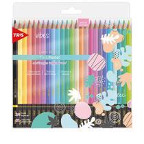Lapis Cor 24 Cores Vibrantes Tons  Pastel Vibes + 1 Lapis 6B Original Tris Ultra Macio -