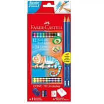 Lapis Cor Bicolor 12 Lapis 24 Cores + Apontador + Borracha - Faber Castell