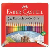 Lapis Cor Triangular Grip Estojo Lata 24 Cores Faber Castell -
