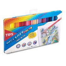 Lapis Cor Tris Mega Soft Color 72 Cores + Estojo Lata -