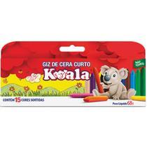 Lapis de Cera Curto 15 Cores Koala - Delta