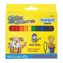 Lapis De Cera Maripel Cs12e Fino 12 Cores Pacote Com 12 -