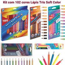 Lápis de Cor 102 cores Tris Mega Soft Color + Brinde (60 Mega Soft Color + 12 Tons de Pele  + 12 Tom Pastel + 12 Metálico + 6 Neon) - Sumiit Tris