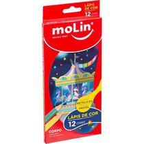 Lapis de Cor 12 Cores 6 Pastel e 6 Metalico Molin -