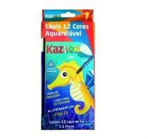 Lapis De Cor 12 Cores Aquarela Madeira Kaz -