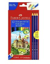 Lapis De Cor 12 Cores Ecolapis + 3 Lapis Preto Faber Castel - Faber Castell