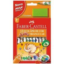 Lapis De Cor 12 Cores Ecolapis Triangular + Apontador Faber Castell -