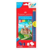 Lapis de cor 12 cores Faber 2 Lapis Apontador e Borracha - Faber-Castell