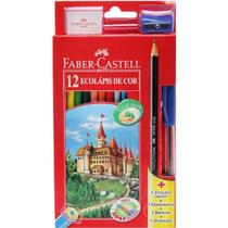 Lapis de cor 12 cores faber-castell kit -