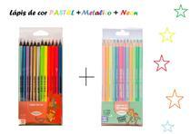 Lapis de cor 12 cores pastel + cores metalicas + neon - Leo - Leonora