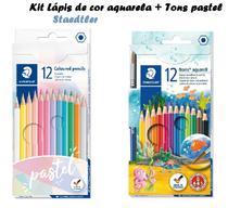 Lápis de cor 12 cores pastel Staed + Lápis de cor Aquarela - Staedtler