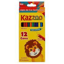 Lápis de Cor 12 Cores Sextavado Kaz Zoo -