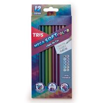 Lapis de Cor 12 Cores Triangular Mega Tris Soft Color Tons Metálicos -