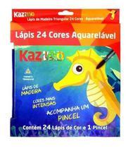 Lapis De Cor 24 Cores Aquarela Madeira Kaz -