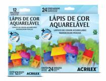 Lapis de Cor 24 Cores Aquarelável Sextavado Acrilex -
