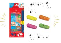 Lapis de cor 24 cores Bicolor + itens + Borracha Apontador - Faber-Castell