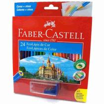 Lapis De Cor 24 Cores Ecolapis + Apontador Faber Castell -