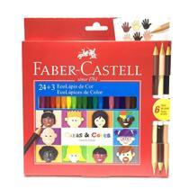 Lapis de cor 24 cores faber castell caras e  cores + 6 tons de pele -
