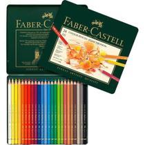 Lápis de Cor 24 Cores Profissional Perm Polychromos Estojo Metálico Faber-Castell -
