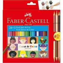 Lapis de Cor 24 Cores Sextavado Caras e Cores + 6 Tons de Pele - Faber-castell - Faber Castell