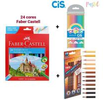 Lápis De Cor 48 Cores (24 Faber Castell + 12 Tons de Pele Tris + 12 Tons Pastel Cis) - Faber Castell / Tris / Cis