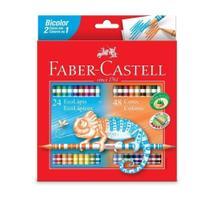 Lápis de cor 48 cores bicolor Faber-Castell -